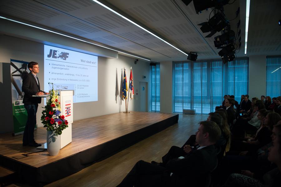 Unser International Officer beim Praktikantenempfang der Landesvertretung Hessen in Brüssel