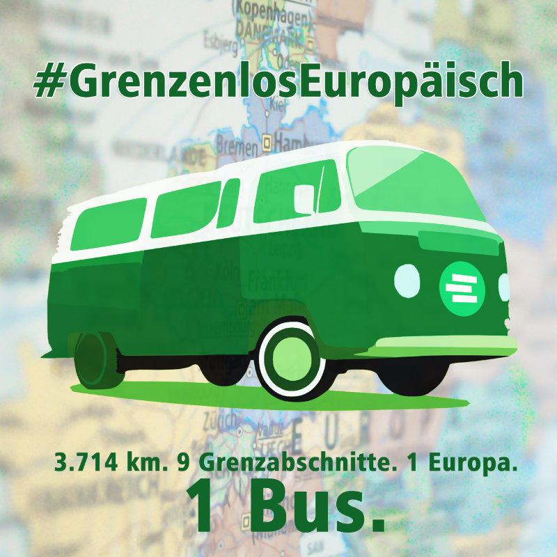 Junge, europabegeisterte Aktivistinnen und Aktivisten kündigen Bus-Tour und Veranstaltungen an deutscher Grenze an