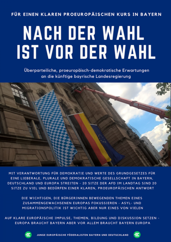 Nach der bayerischen Landtagswahl ist vor der Europawahl – Einordnungen und Forderungen der JEF Bayern und JEF Deutschland