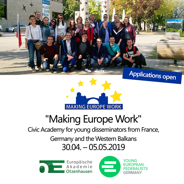 "Applications open for ""Making Europe Work"""