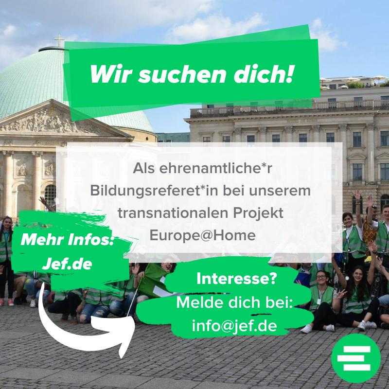 Wir suchen dich – Bildungsreferent*in Europe@Home